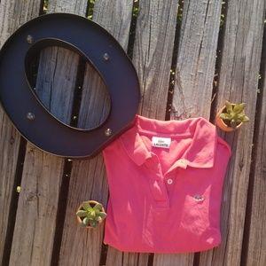 Lacoste hot pink women's polo shirt